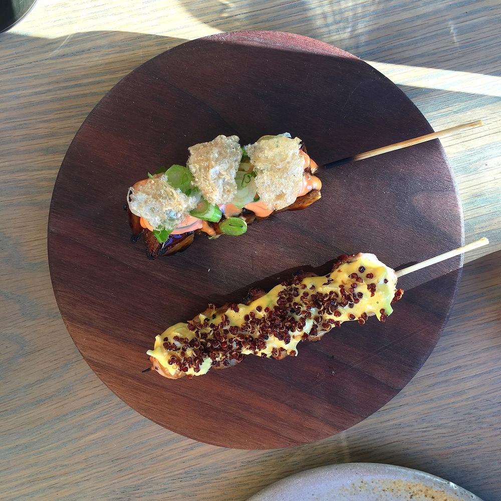 anticuchos: pork belly, char siu, pickled chilis, spicy mayo // octopus, aji amarillo, cabbage quinoa