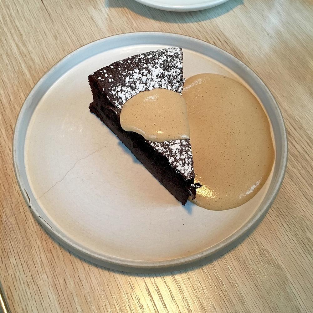 double chocolate torta, espresso zabaglione