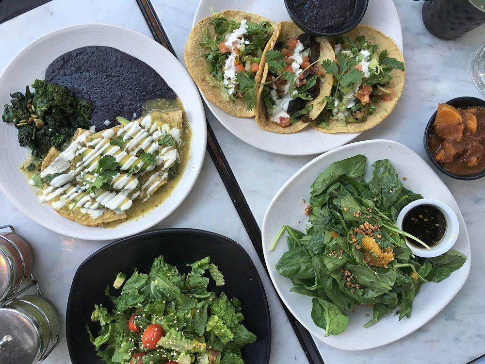madre's chopped salad, enchiladas verde, veggie tacos, ensalada de espinacas