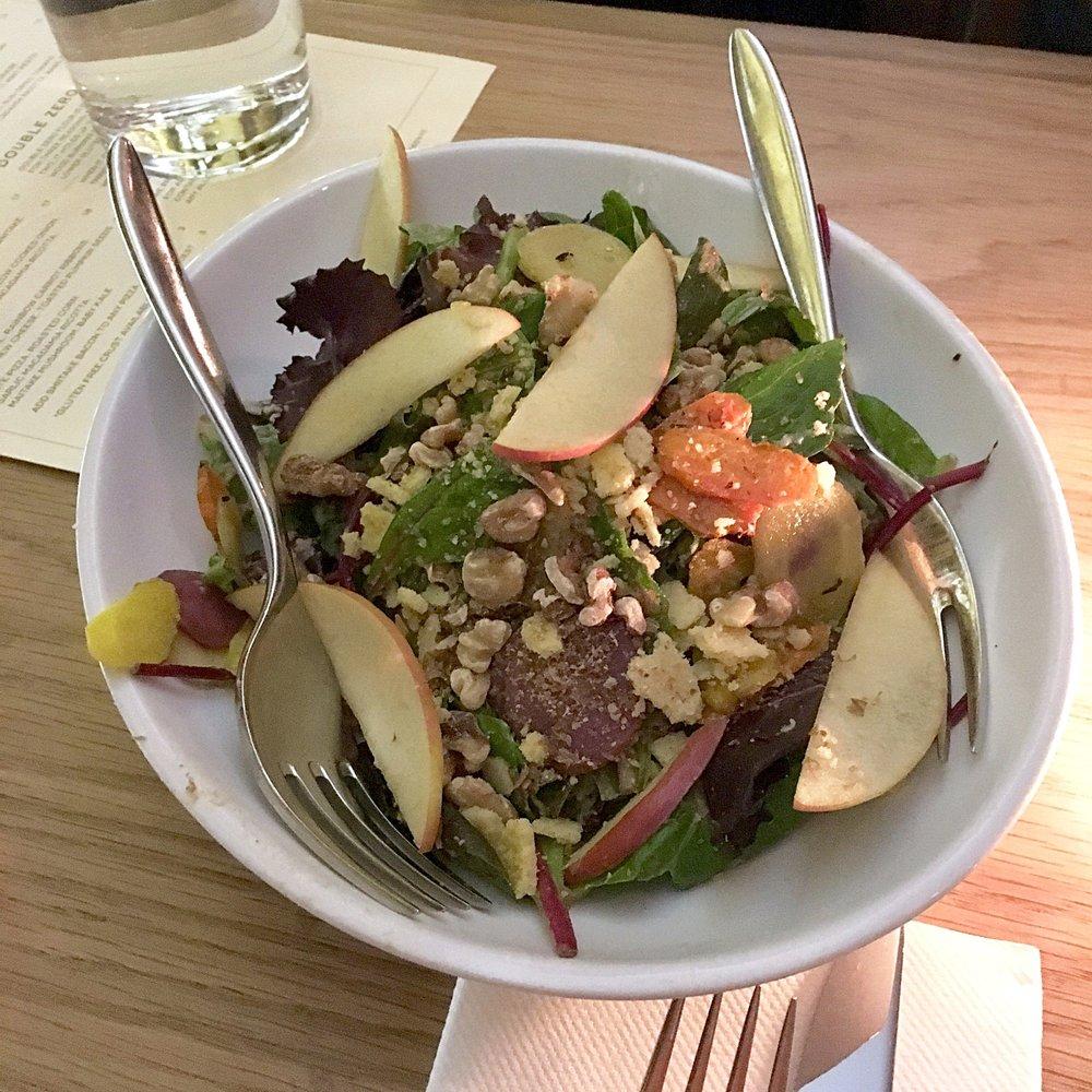 autumnal greens, apple, walnut, root vegetable, macadamia parmesan, sunflower dressing