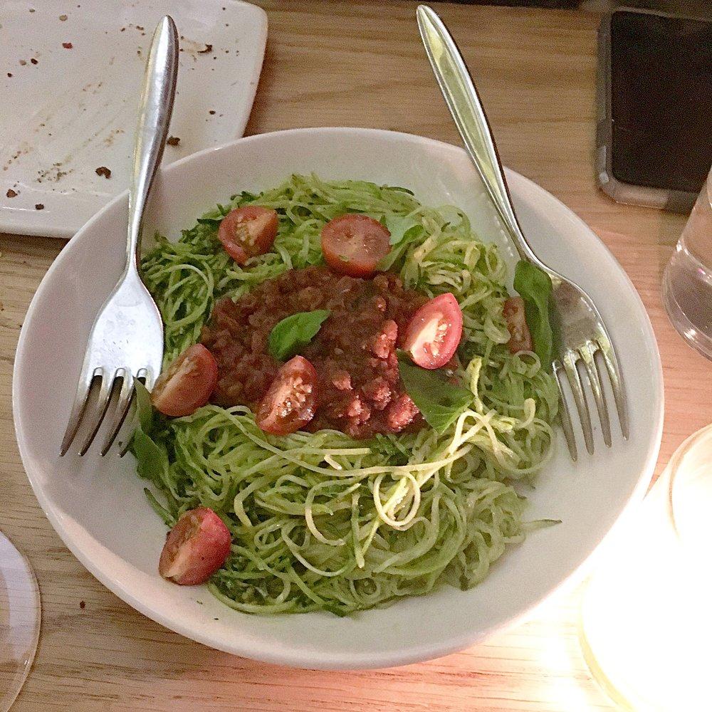 spicy roasted farro bolognese, beet-zucchini spaghetti, mint pesto