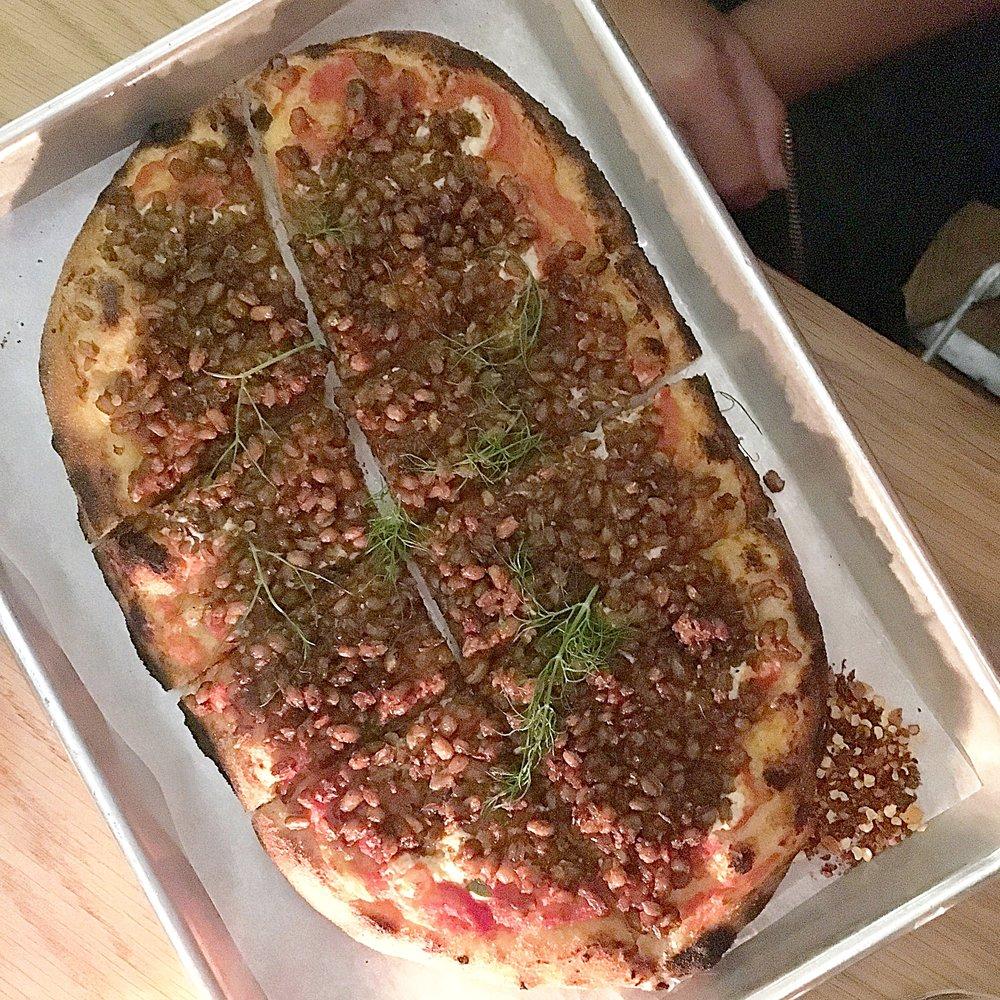 farro-fennel sausage, tomato, cashew mozzarella