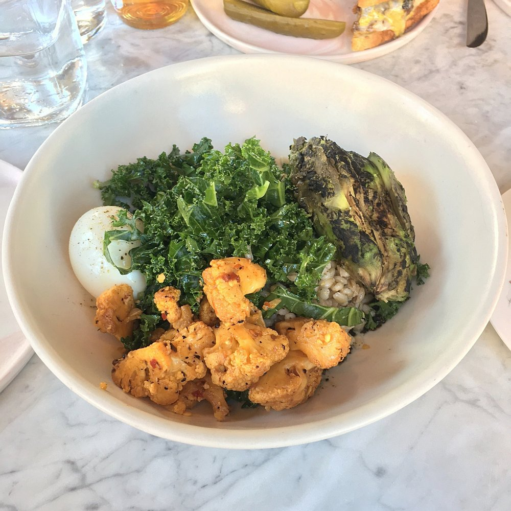grain bowl // toasted barley, boiled egg. spicy cauliflower, mustard greens, kale, charred avocado