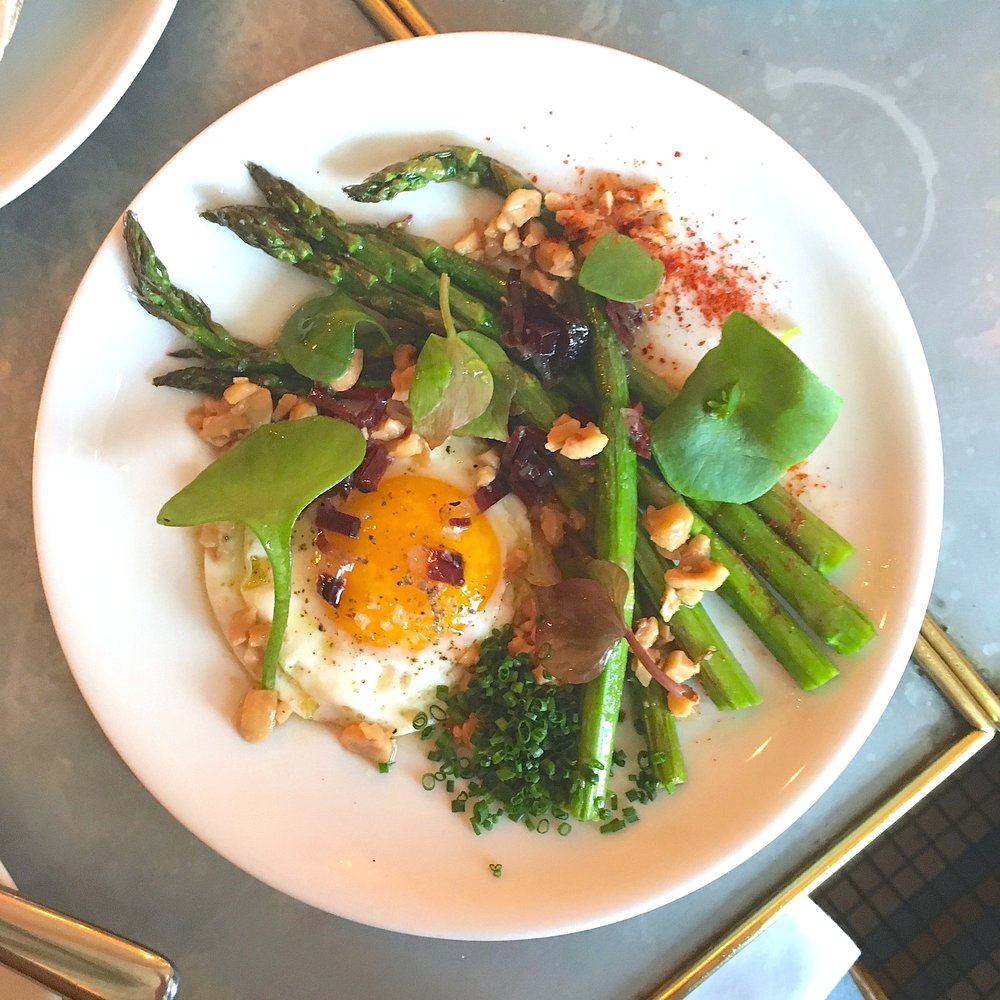 green asparagus, farm egg, hazelnut, duck ham