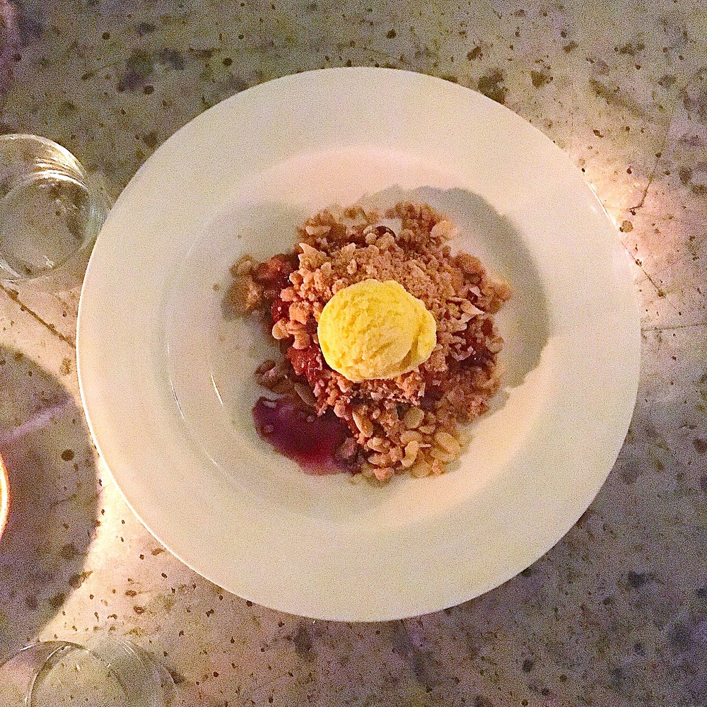 pear & cherry crisp // ginger, lemon, allspice, crunchy almond granola, ice cream, red wine sauce