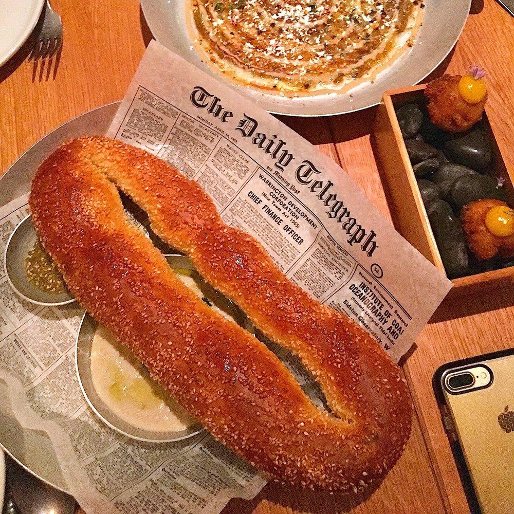jerusalem sesame bagel // za'atar & lima bean messbaha