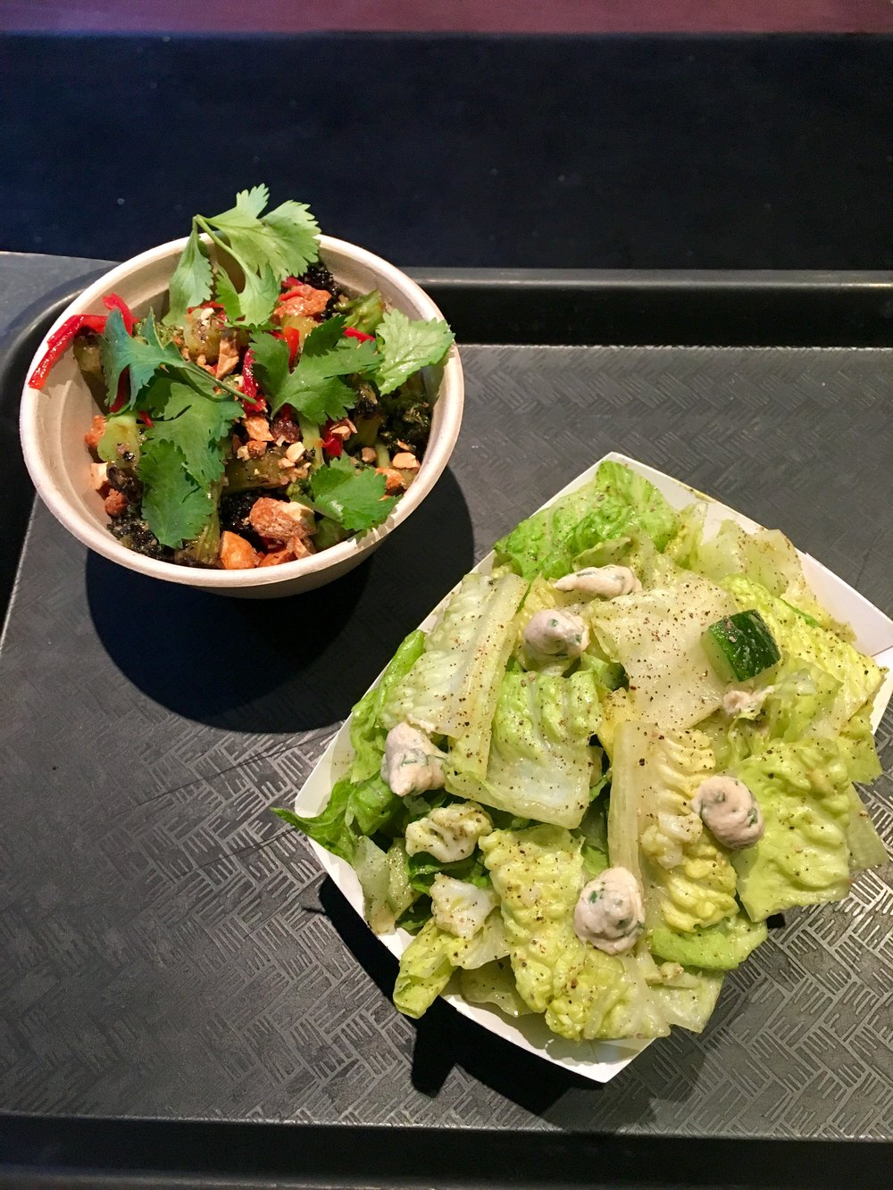 burnt broccoli salad // eggplant, red chile, coriander, cashews  tahini ranch romaine salad // cauliflower, sneaky avocado