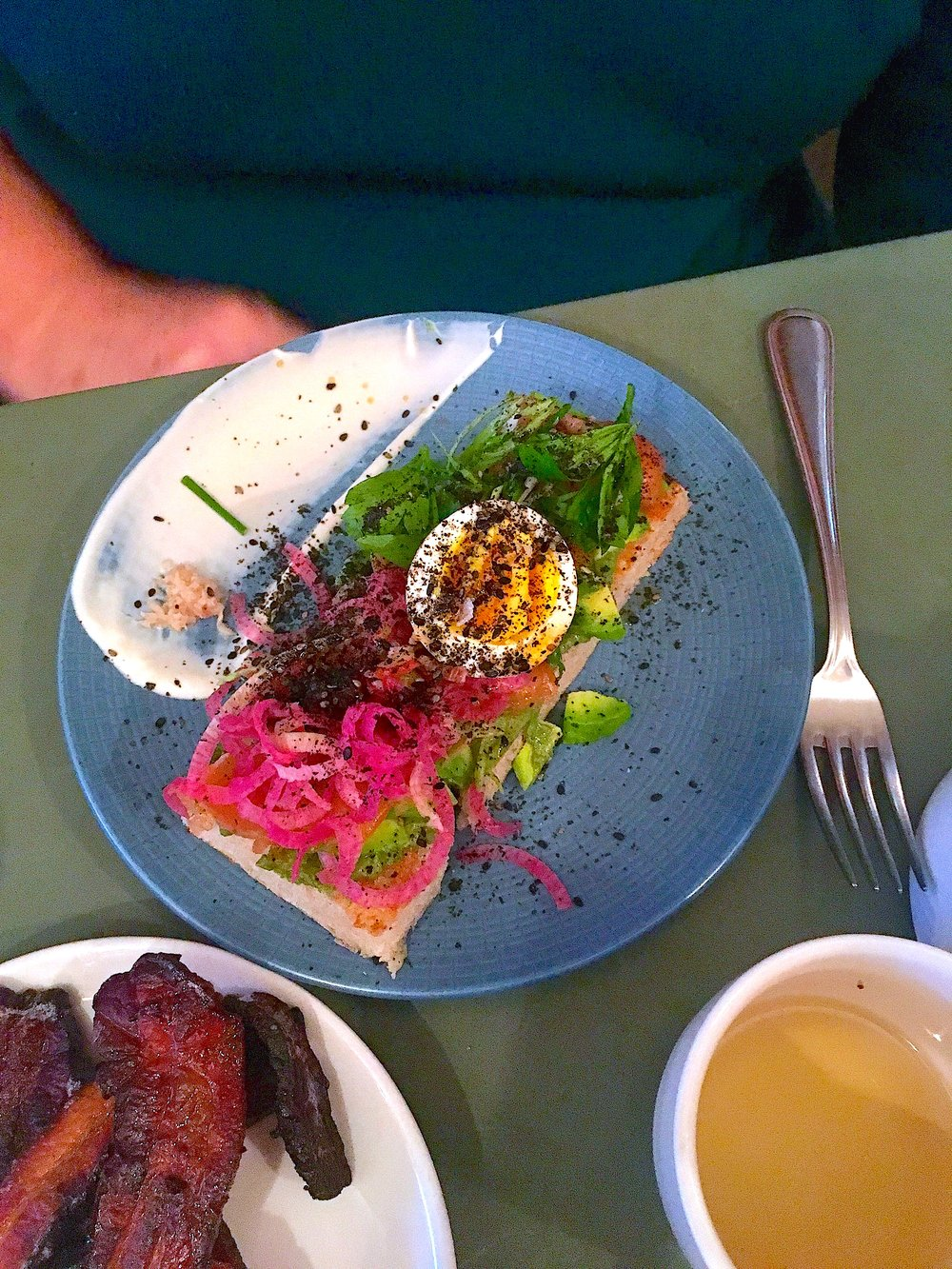 toast // avocado, lavender cured salmon, honey egg