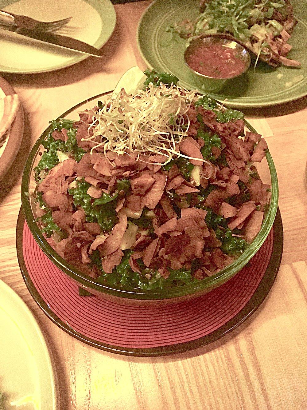 dinosaur kale // mango, avocado, red quinoa, shallots, coconut bacon, jalapeno chia-cilantro dressing