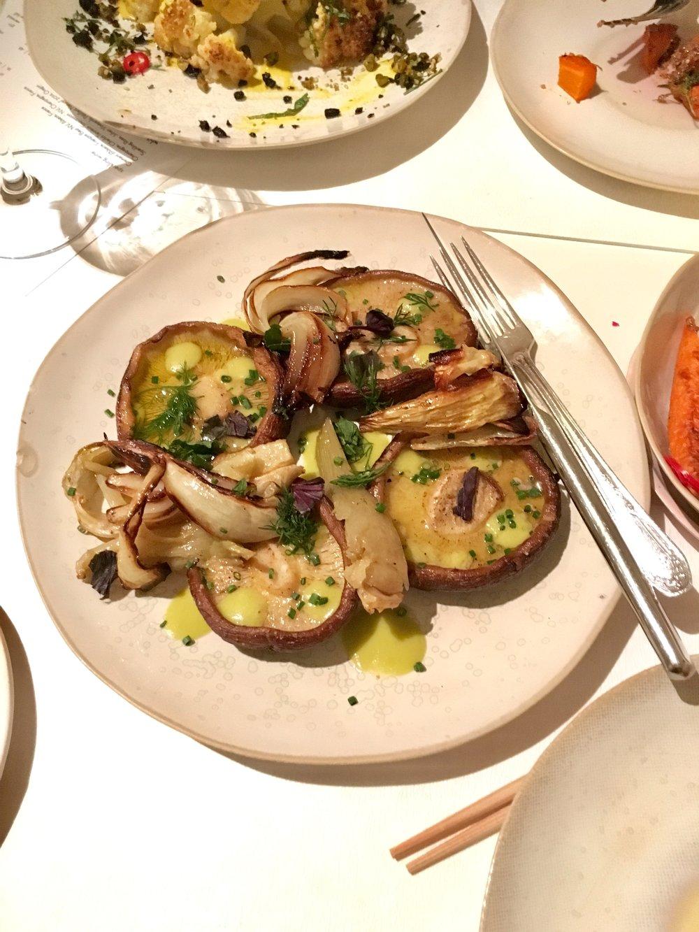 grilled donko shiitake, spring onions, caramelized fennel, yuzukosho green goddess