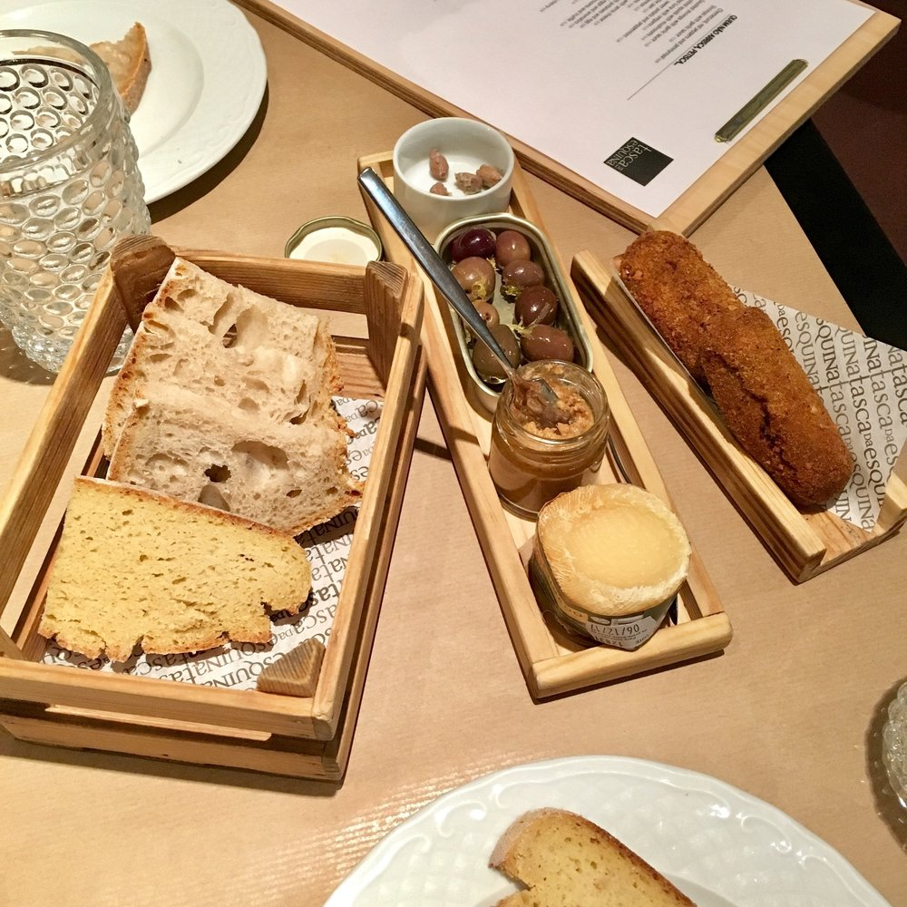 bread, olives, paté, cheese, croquettes