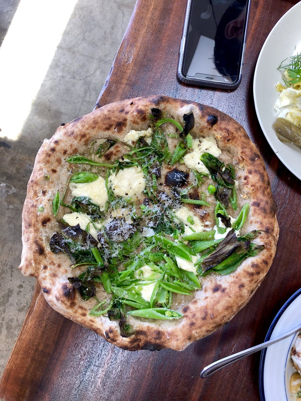 sweet pea pie // snap peas, pea tendrils, green garlic, ricotta, pecorino sardo