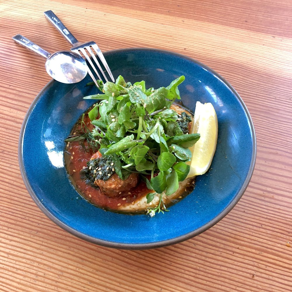 lamb meatballs, fava puree, herb salad
