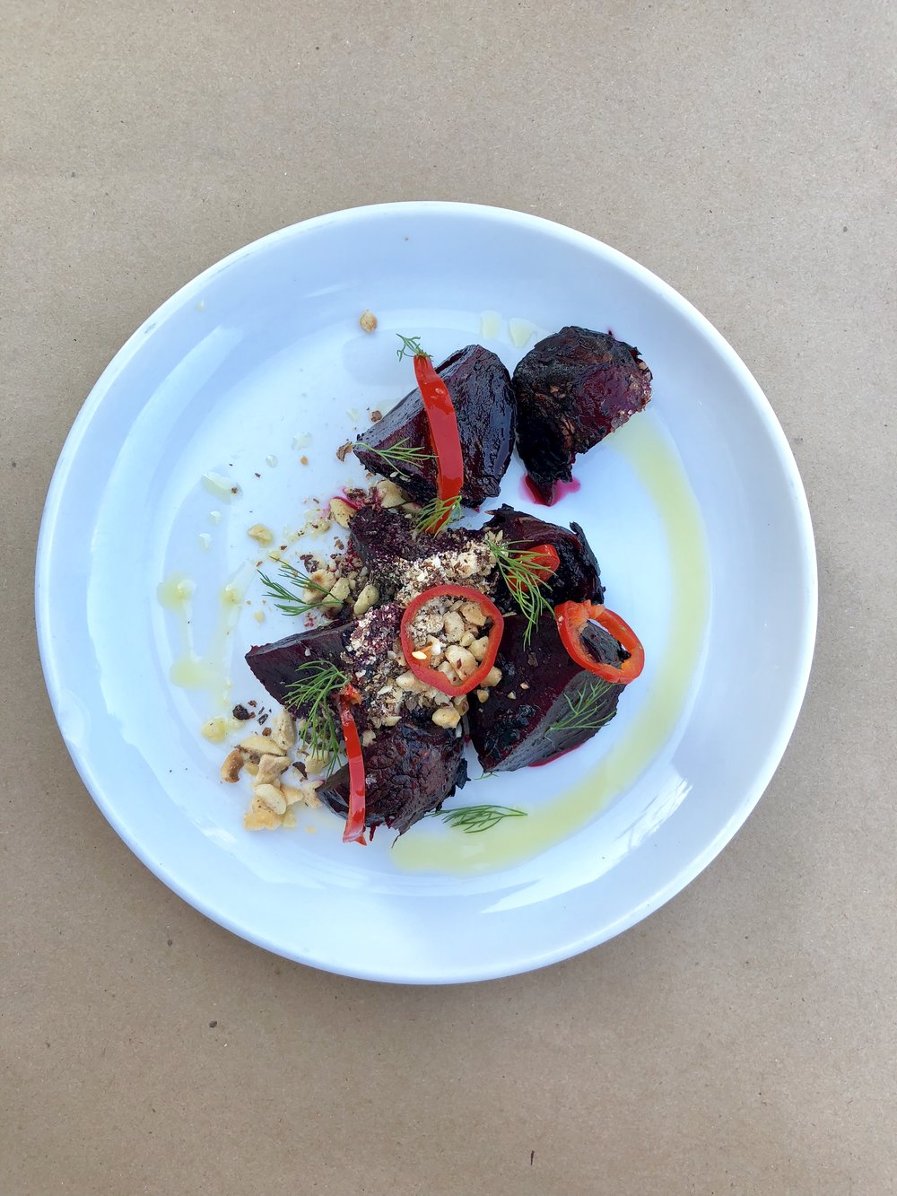 grilled beets + hazelnuts