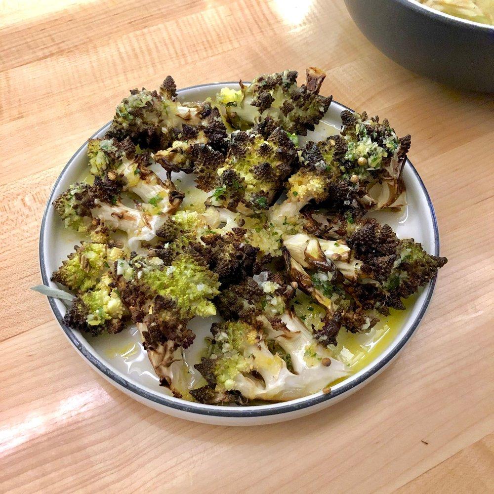 roasted romanesco, salmoriglio, coriander