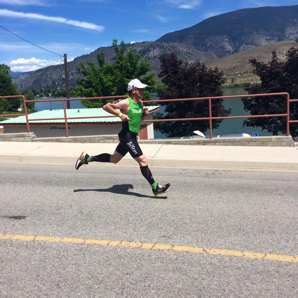 TriStar Mark Weigele finishing his first half iron in  Oliver June 2016.