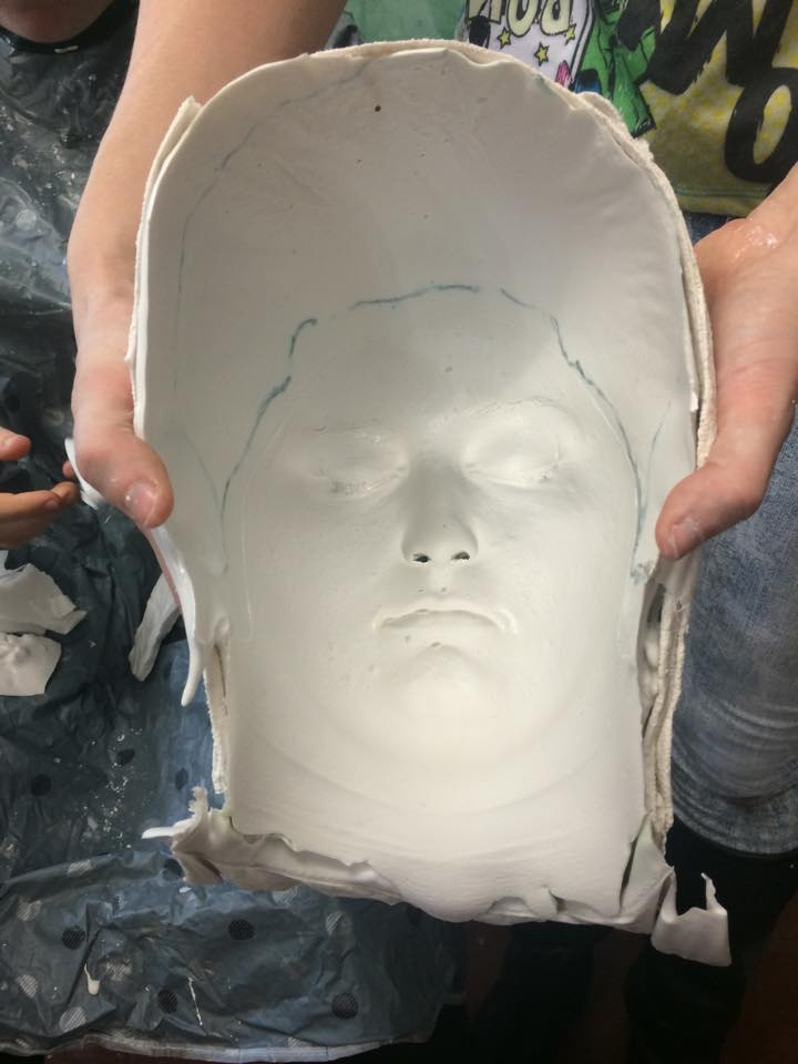 casting negative before filling with plaster