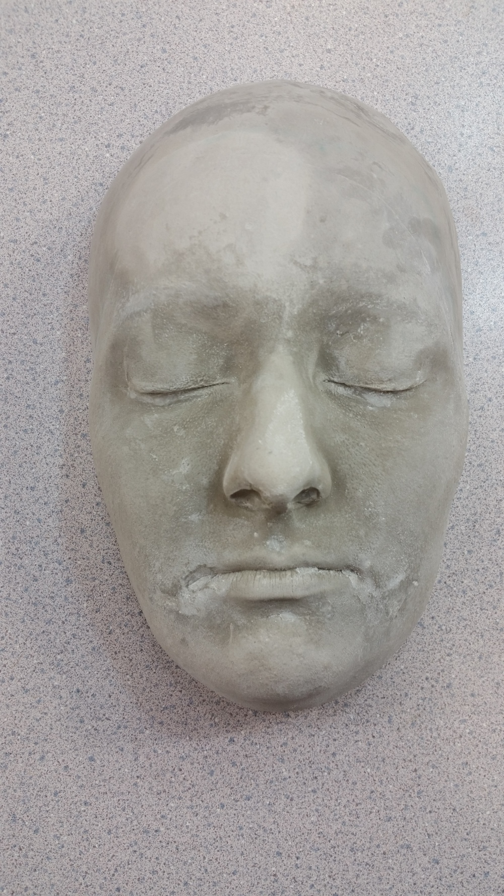 face cast ready for oil based clay molding