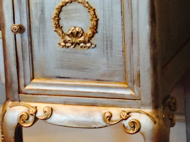 Metallic Painted Antique Mahogany Buffet with Pewter, Silver & Gold Accents