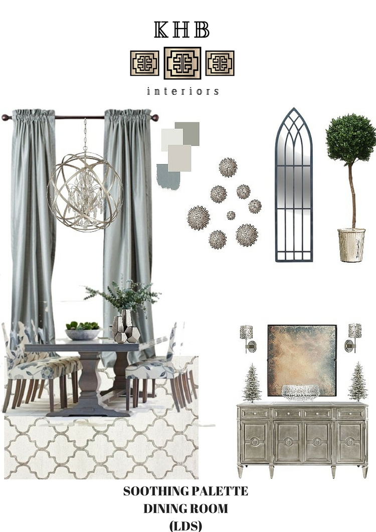 Khb Interiors New Orleans Interior Design Inspiration Board Dining Room Soothing Blues Greiges Brown Revere Pewter