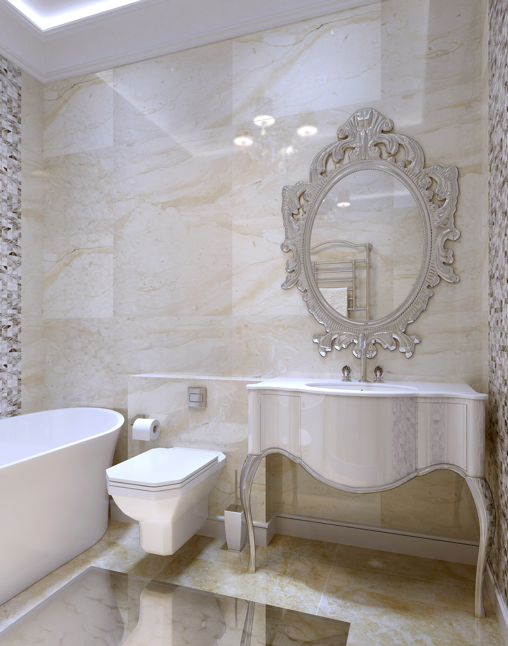 KHB Interiors New Orleans Interior Design Marble White Master Bathroom  Luxury Glamour