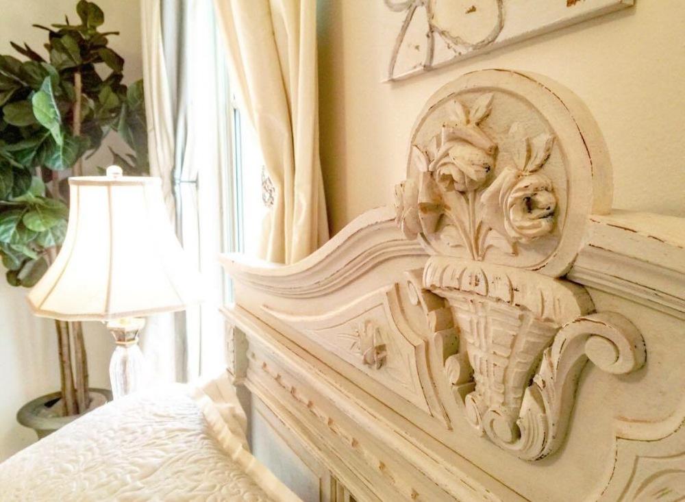antique bedroom head board metairie residential interior design khb interiors