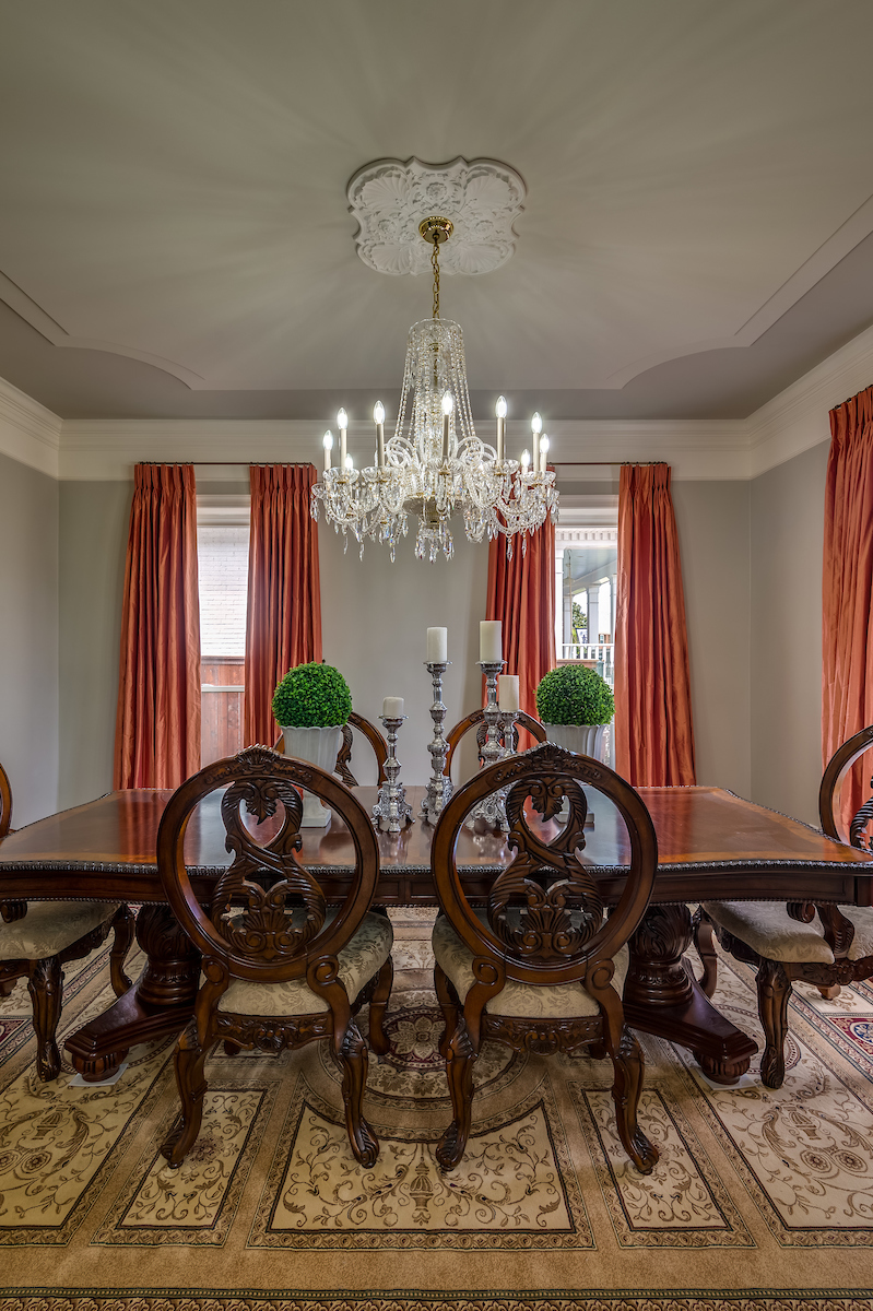 KHB Interiors traditional dining room custom coral silk drapery new orleans old metairie decorator interiors garden district kamal.jpg