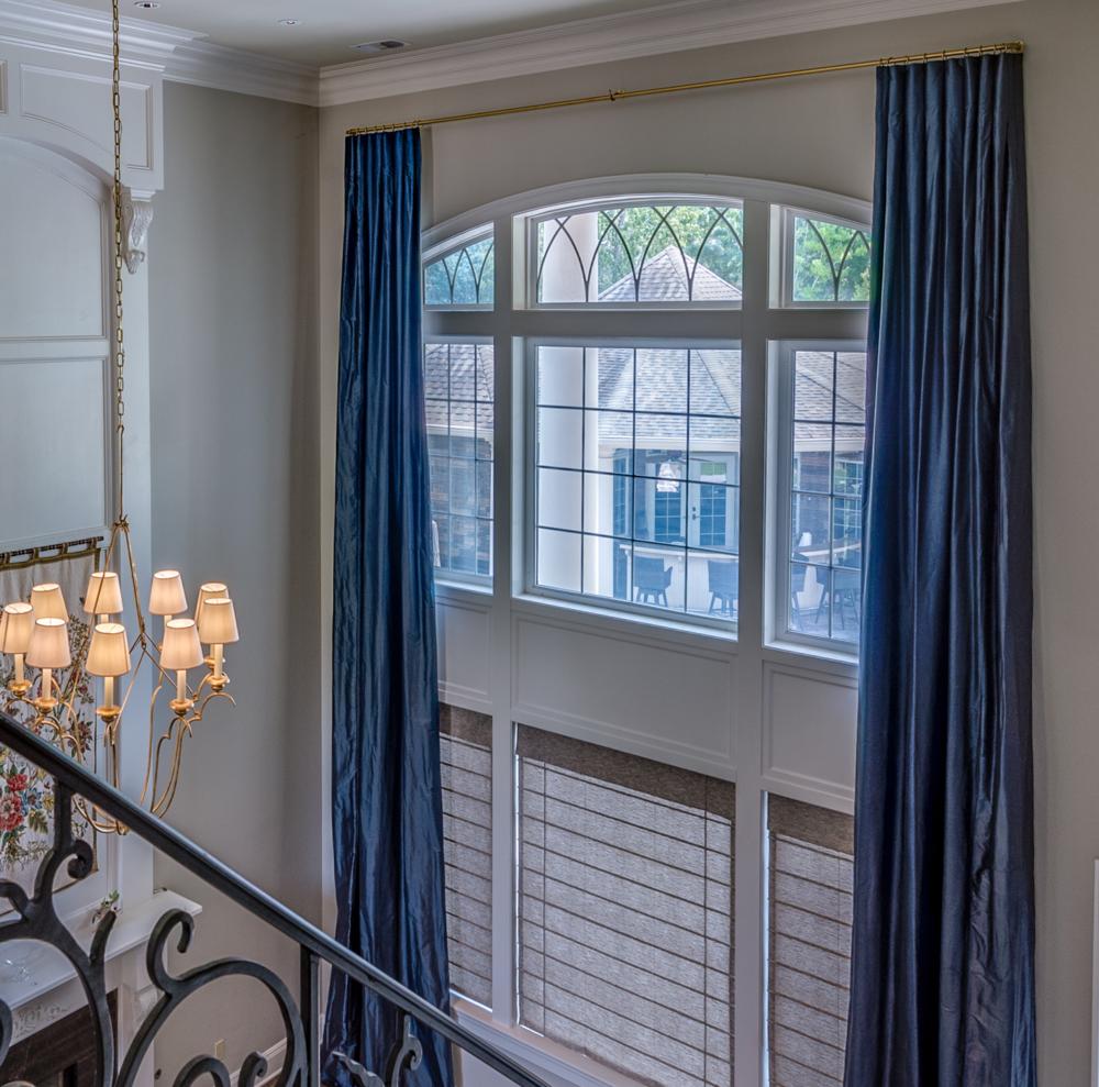 two story window treatment metairie uptown luxury interior design khb interiors