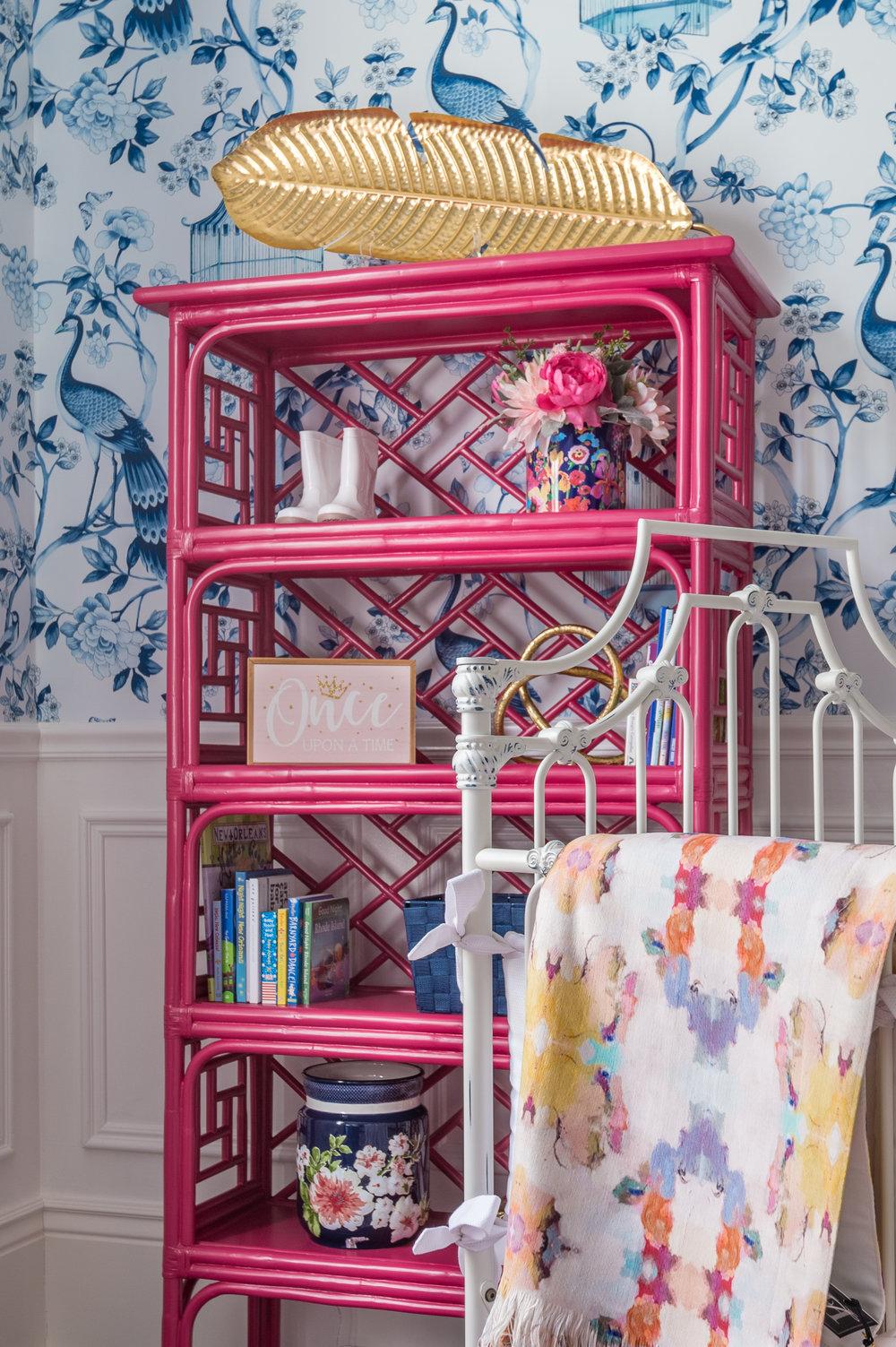 painted bamboo shelf decor new orleans interiors khb interiors