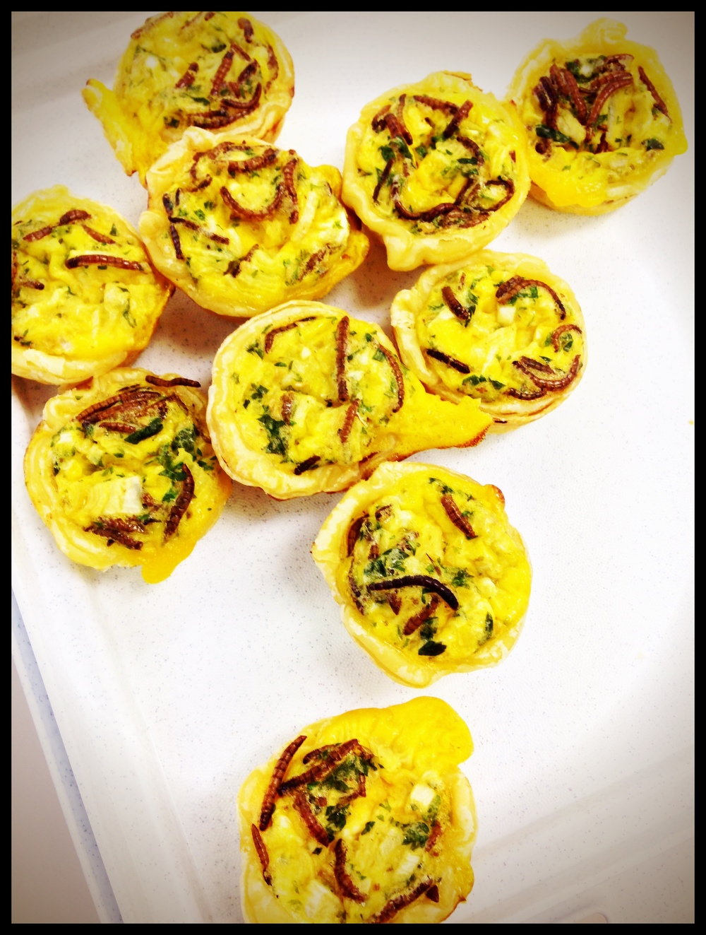 Roasted mealworm mini quiches | Rebecca Di Donato
