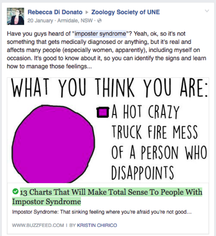 A screenshot of the Imposter Syndrome article I posted on Facebook.