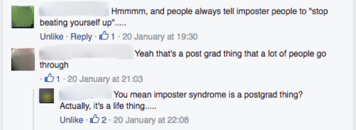 A screenshot of some of the comments on the Imposter Syndrome post.