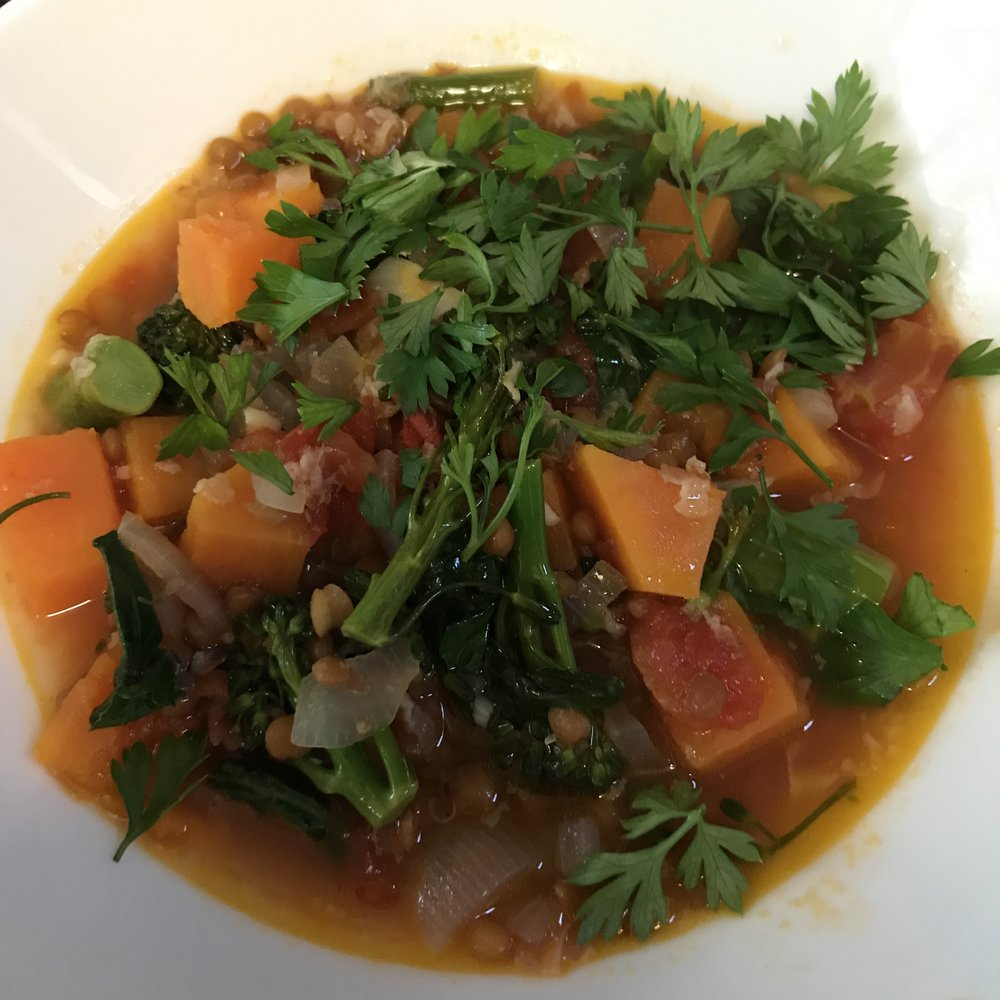 Sweet Potato Soup with Lentils & Pancetta