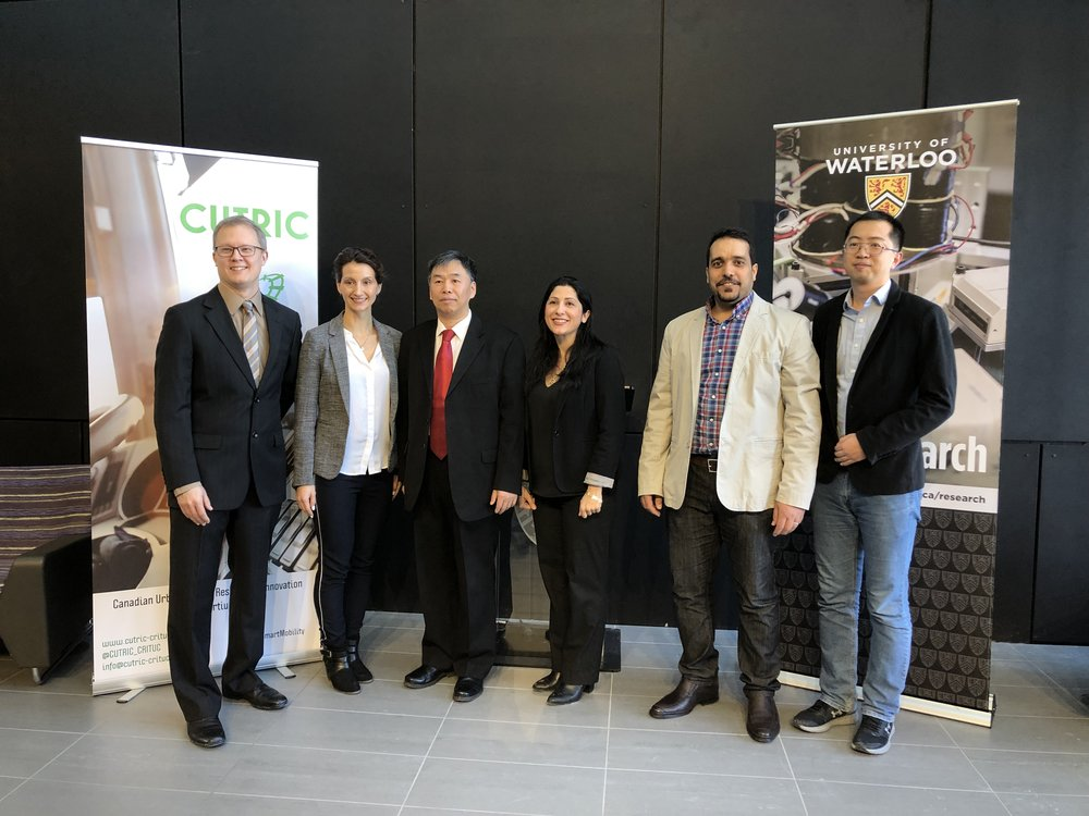 Funding announcement at University of Waterloo with Alan Young (Ballard), Josipa Petrunic (CUTRIC), Professor Xianguo Li (University of Waterloo), and his students.