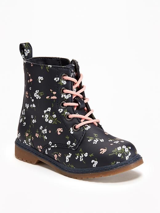 Old Navy , $30  Toddler Dr. Marten-style boots! In a floral print! I'm not sure who needs these more, me or Bailey.