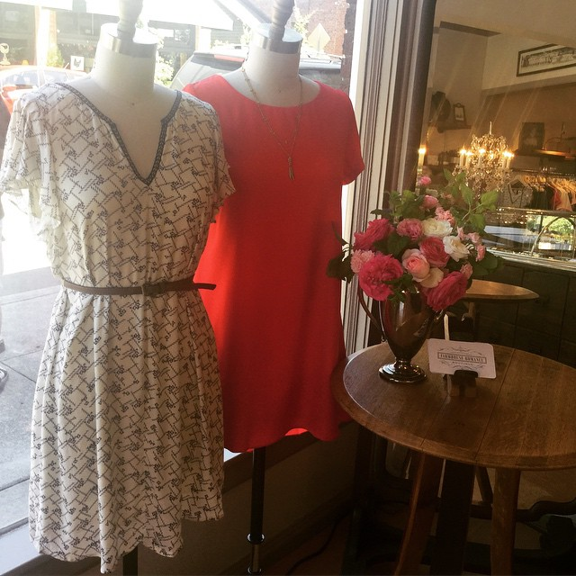Just in time for wedding season beautiful summer dresses sure to make you smile.  Also showing off our latest floral arrangement from our cut flower patch featuring ranunculus & roses.