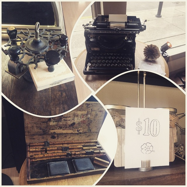 Employing new 20th century technology in the boutique.  Come sign up for our email newsletter on our Underwood typewriter complete with @ sign.