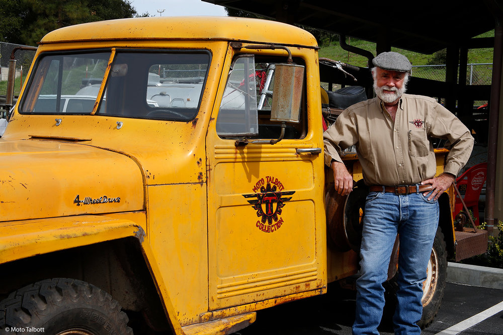"Museum founder Robb Talbott with a ""new"" acquisition: his 1957 Jeep."