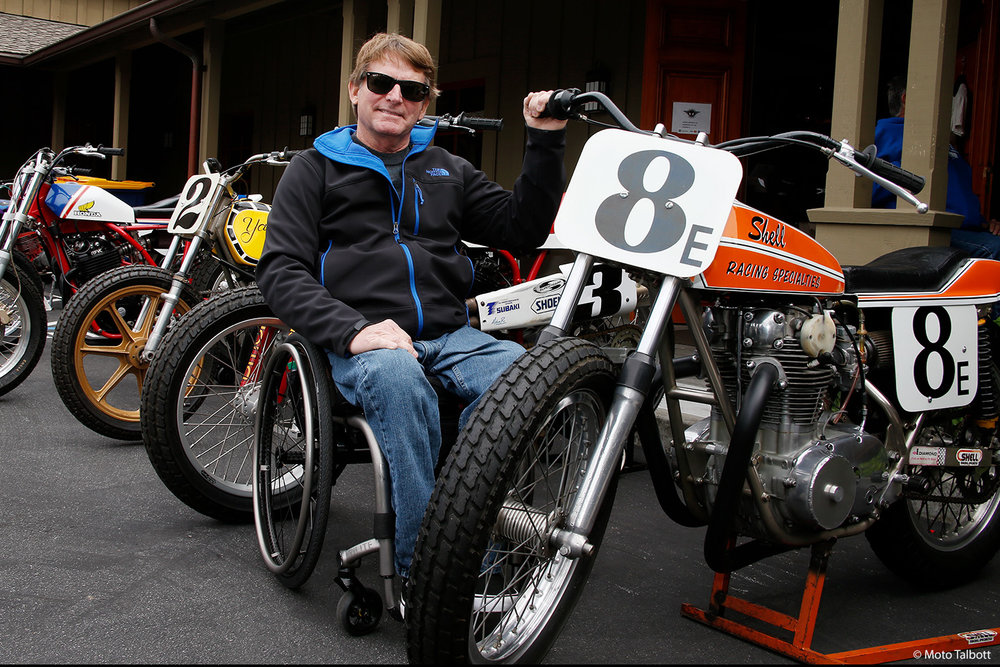 Three-time world champion Wayne Rainey and the bike built by his former tuner, Shell Thuet.
