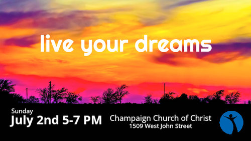 Singles Workshop: Live Your Dreams Join us for a special workshop next Sunday, July 2nd from 5:00 - 7:00 PM. Our special guest speaker, Adam Larr, will be talking about living your dreams for God. Adam, a single man of 35, currently leads a House Church in the Boston congregation and serves on Boston's Singles Steering committee. He has spoken at several singles workshops and conferences and has a lot to say about Single disciples living a full and effective life serving in the Kingdom of God.We have also invited the Bloomington, Springfield and Indianapolis singles to join us as well!
