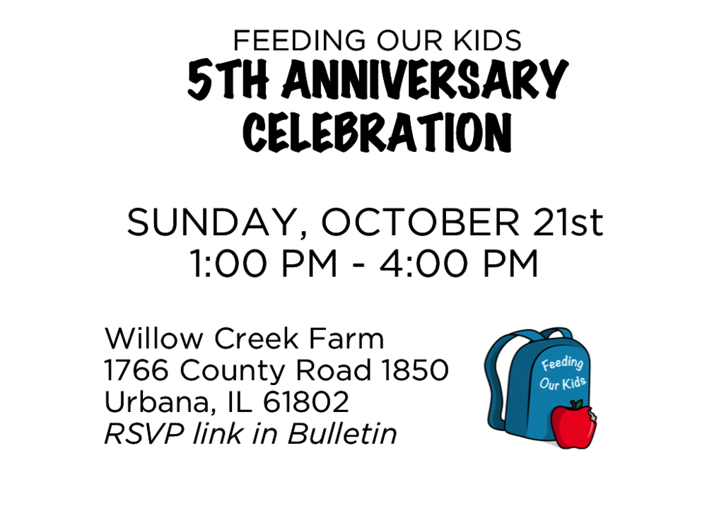 5th Anniversary Celebration of Feeding Our Kids! Anyone in the church or community is invited. RSVP at the link below: https://www.evite.com/event/02C9ONFFFBND3QECYEPIW4A3Y6FJKQ/rsvp