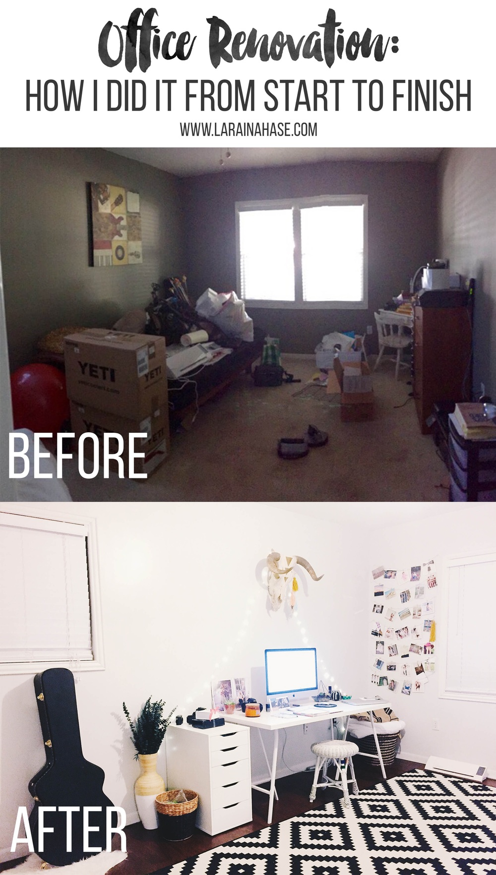 Office Transformation: How I Did It From Start To Finish | Boho Chic Office | Laraina Hase | DIY