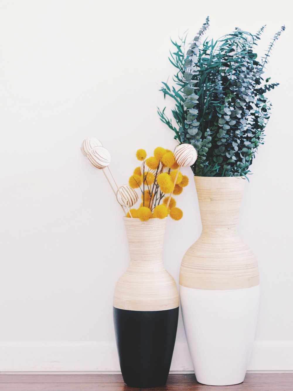 Color Block Vases | Yellow Billy Balls | Hobby Lobby | Eucalyptus