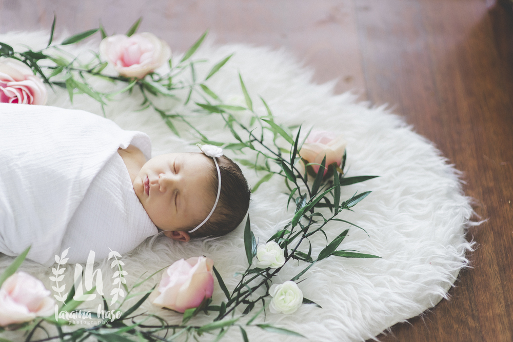 Lifestyle Newborn Photography Floral Oval Around Baby