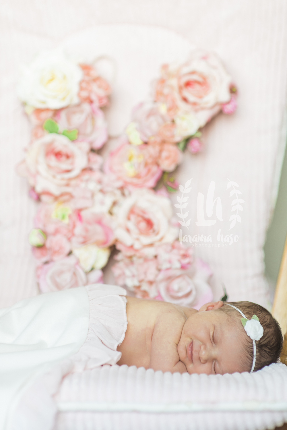 Lifestyle Newborn Photography South Texas Floral Letter Nursery Decor