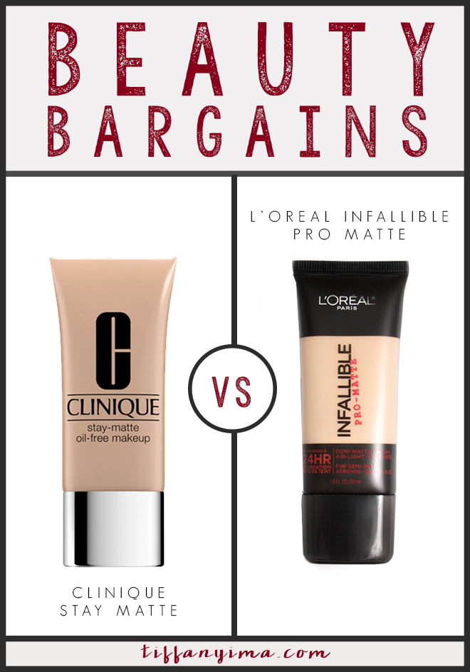 I learned is that there are excellent products at both ends of the money spectrum and you will always be able to find something that works for you that will not cost a lot.  Today, I will be comparing the Clinique Stay Matte foundation to the L'oreal Infallible Pro Matte Foundation.