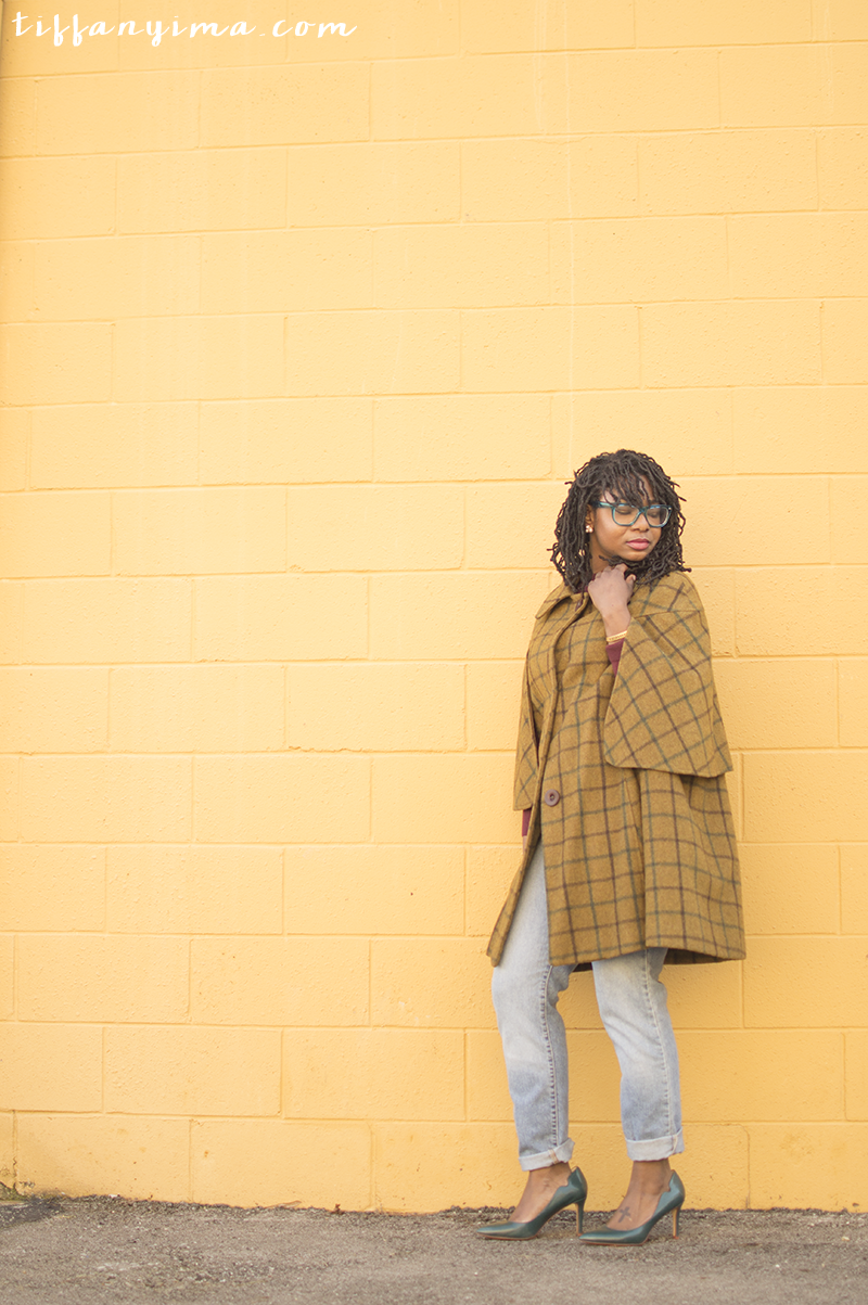 Cape: Vintage | Jeans: Vintage Levis | Sweater: Thrifted | Shoes DSW ( Similar ) | Glasses:  Zenni Optical