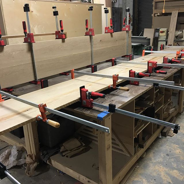 Sneak peek of some white oak bar tops for @mottleykitchen  #clamps. #lotsofclamps