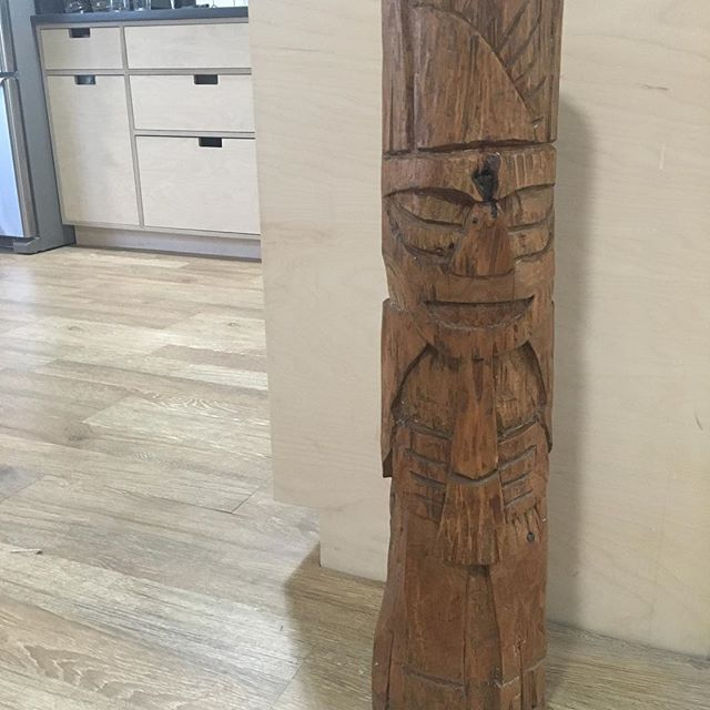 When I was in college before I was a carpenter I decided it would be a good idea to cut down a mesquite tree and carve this for my girlfriend/ now wife. Find yourself that Totem Pole kinda love. #wowbabe #totempolelove