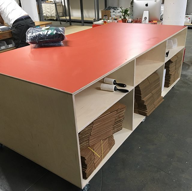 I've been doing some fun stuff with Baltic birch plywood lately including these work tables and counter for @onlyny. Their new space is awesome. #plywood#cabinets#70'svibe